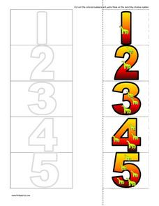 Number Matching Cards Cut And Paste-- Dinosaur Motif Worksheet