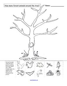 How Many Forest Animals Are Around the Tree? Worksheet
