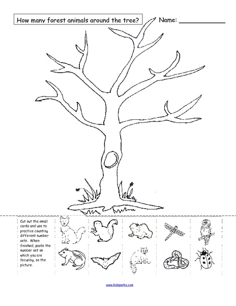 how many forest animals are around the tree worksheet for pre k 1st grade lesson planet. Black Bedroom Furniture Sets. Home Design Ideas