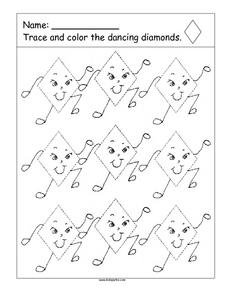 Trace And Color Dancing Diamonds Worksheet
