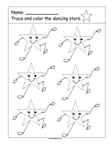 Trace And Color the Dancing Stars Worksheet