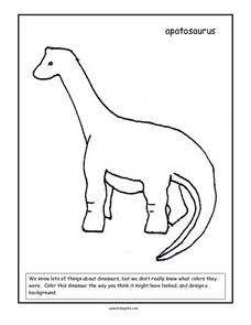 Apatosaurus Coloring Page Worksheet