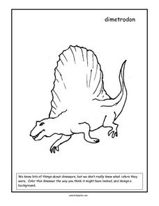 Dimetrodon Coloring Page Worksheet