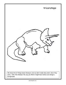 Triceratops Coloring Page Worksheet