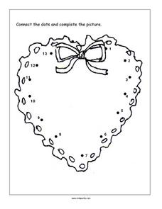 Connect the Dots: Holiday Wreath Worksheet