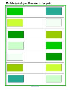 Match the Shades of Green Worksheet