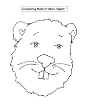 Groundhog Mask or Stick Puppet Worksheet