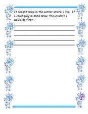 Snow Story Starter Worksheet