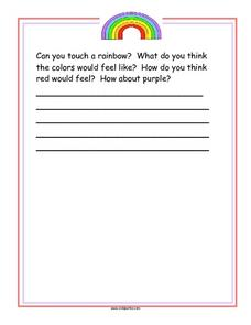 Touch a Rainbow Story Starter Worksheet
