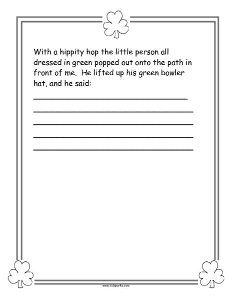picture relating to Printable Leprechaun Story known as Communication With a Leprechaun Tale Newbie Worksheet for