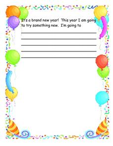 Goals for the New Year Story Starter Worksheet