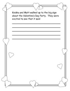 Valentine's Day Party Story Starter Worksheet