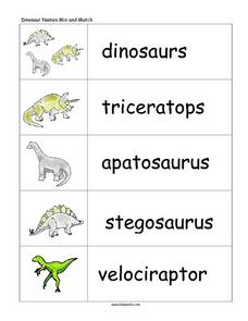 Dinosaur Names Mix And Match Lesson Plan