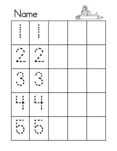 Number Tracing 1 To 5 Worksheet