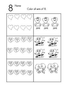 Sets of Eight Coloring Math Worksheet Worksheet