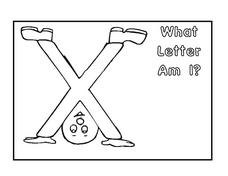 What Letter Am I? Letter X Coloring Page Worksheet