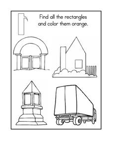 Find All the Rectangles And Color Them Orange Worksheet