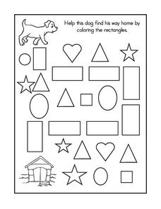 Geometry Maze and Coloring Sheet Worksheet