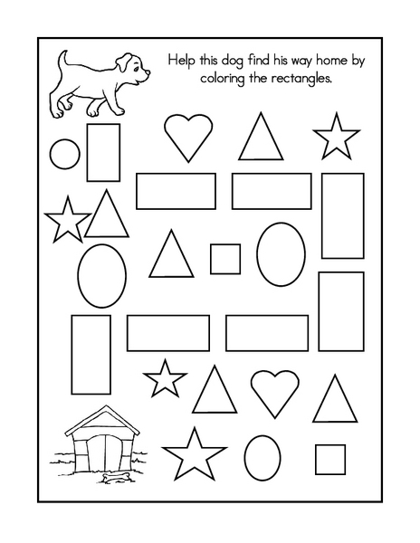 Geometry Maze and Coloring Sheet Worksheet for 3rd Grade