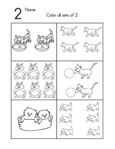 The Number 2-- Coloring Sets of 2 Worksheet