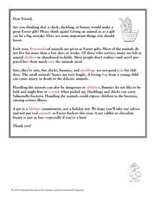 Letter To a Friend About Easter Pets Lesson Plan