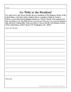 Write to the President Lesson Plan