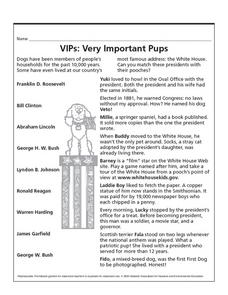 VIPs: Very Important Pups Lesson Plan