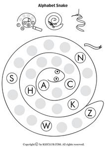 Alphabet Snake Worksheet