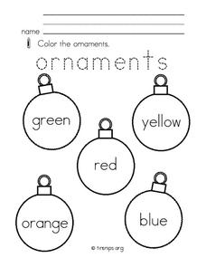 Christmas Ornaments Worksheet