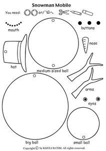 Snowman Mobile Worksheet For Pre K Kindergarten Lesson