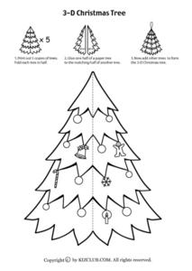 Tiny Christmas Tree - Black And White Worksheet