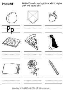 P Sound Worksheet