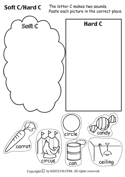 Worksheet | Cookie or Circle? | Sort and write words with hard 'c ...