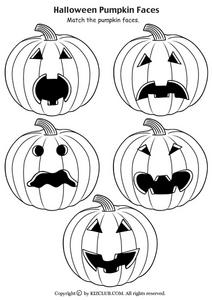 Match the Pumpkin Faces Worksheet