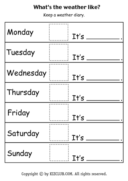 What's the Weather Like-- Weather Diary Worksheet for 1st