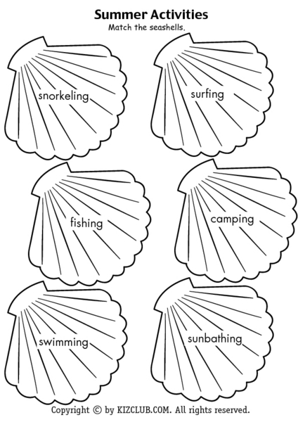 Summer Activities-- Match the Seashells Worksheet for 1st
