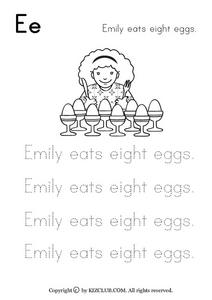 Emily Eats Eight Eggs Worksheet
