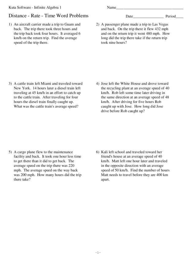 Sample Word Problem Worksheets Distance Rate Time Word Problems – Math Review Worksheets 6th Grade