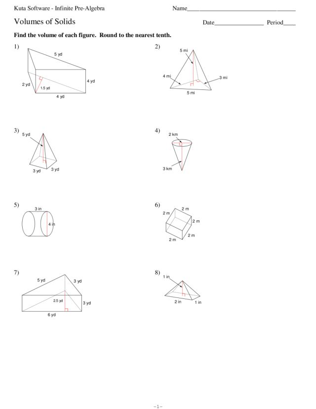 volumes of solids worksheet for 7th 9th grade lesson planet. Black Bedroom Furniture Sets. Home Design Ideas