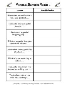 Personal Narrative Topics 1 Worksheet