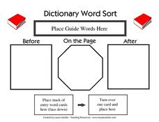 Dictionary Word Sort Worksheet