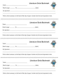 Literature Circle Bookmark Lesson Plan