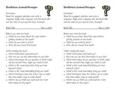 Nonfiction Journal Prompts Worksheet
