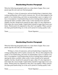 Handwriting Practice Paragraph Lesson Plan