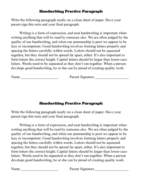 Handwriting Practice Paragraph Lesson Plan for 4th - 5th ...