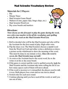 Mad Scientist Vocabulary Review Lesson Plan