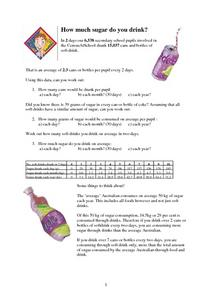 How Much Sugar Do You Drink? Worksheet