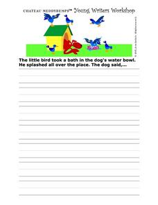 Story Starter- A Bath In The Dog's Water Bowl Worksheet