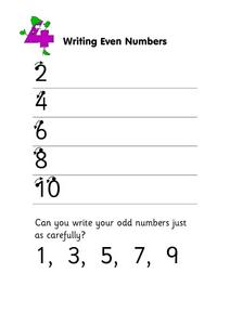 Writing Even Numbers Worksheet
