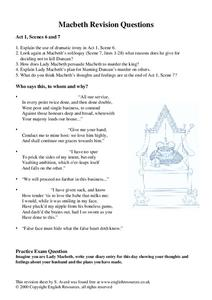 Macbeth Revision Questions Worksheet